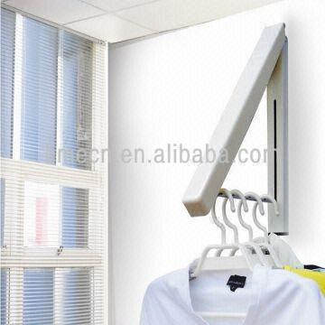 China Wall Mounted Collapsible Hanger Laundry Room Organizer Hidden Type Multifunctional Clothes Hang