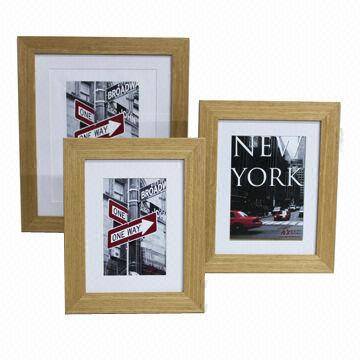 Wooden Photo Frame Wood Veneer Wrapped With Mat 4x6 5x7 8x10