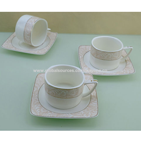 China 200ml Square Coffee Tea Cup Saucer Sets