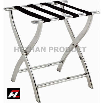 ... China Gold Tubular Hotel Metal Luggage Rack / Stainless