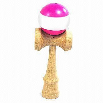 Wooden Kendama Toy with Double Colors, Measures 70 x 60 x