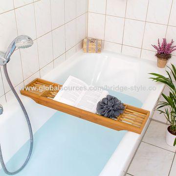 Bamboo Bathtub Tray Caddie with 3 Compartments 70 cm Long Bath ...