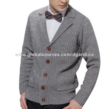 2016 fancy knitted pattern wool men's sweater coat | Global Sources