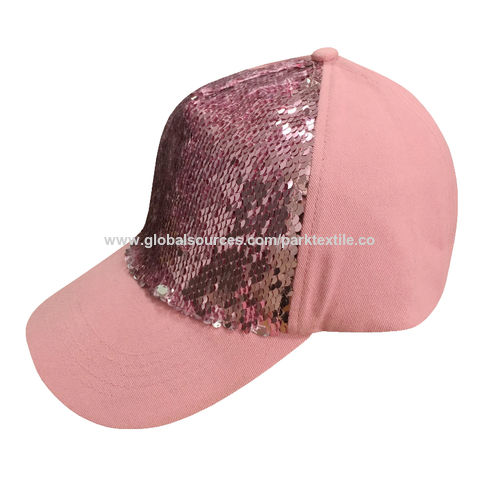 ac74f45e98e16 China Sports cap made with cotton twill fabric and turnover sequins fabric  ...