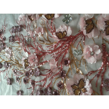 ... China 3D Sequins African Embroidered Lace Fabric For Wedding Dress ...