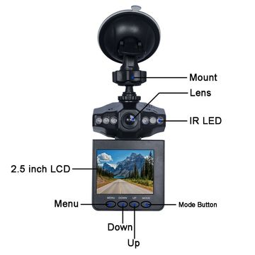 China HD 720p Manual LCD 6 IR Light F198 Car DVR Dashboard Camera