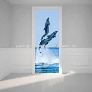 ... China 3D Dolphins Door Sticker PVC Self Adhesive Waterproof Mural Vinyl  Decal Children Bedroom Home Decor ...