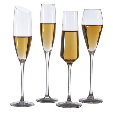 China Hand Blown Crystal Wine Glasses Oblique Mouth Champagne Flutes Bulk Goblets For Wedding