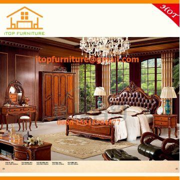 China Imported Italian Solid Teak Wood Bedroom Furniture Set