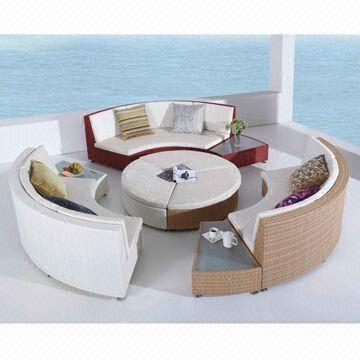 Outdoor Furniture All-weather Rattan/Wicker Big Round Sofa Set with ...