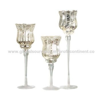 China S3 Mercury Wave Rim Glass Tealight Candle Holders Three
