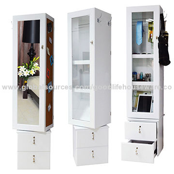 Chinese Furniture Supplier Wooden Rotating Mirror Jewelry Cabinet