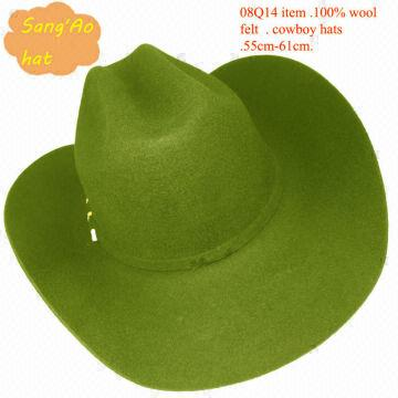 6fb7a588371 Large Green West Cowboy Hats 100% Wool Felt and White or Black ...