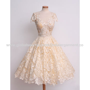 China 100% polyester classic princess dress with lace all over the body .