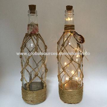 China Decorative Glass Bottle With Led Candle Inside Lantern
