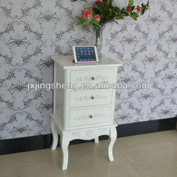 Wooden Furniture Shabby Chic Bedside Table White Drawer Cabinet In