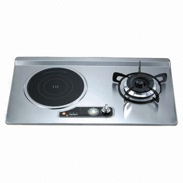 2 burners gas stove with stainless steel panel, 1 induction stove, 1