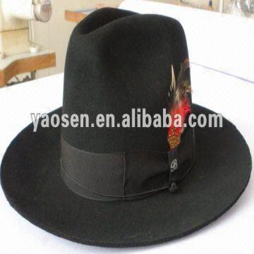 8029869afb3 black wool felt wide brim fedora hat with black satin ribbon band ...