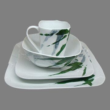 Porcelain Dinnerware Set China Porcelain Dinnerware Set & Square Porcelain Dinnerware Set with Green Bamboo Decoration ...