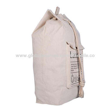 China Polyester Laundry Bag Canvas With Drawstring Shoulder Strap