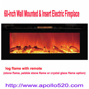 China 60 Inch Wall Mounted U0026 Insert Electric Fireplace With Remote