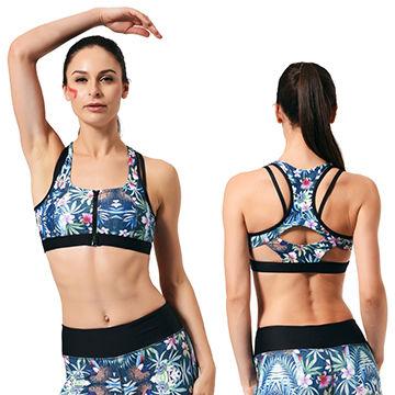 0e3dddee8e China Blue Running Women s Compression Front Zip Push-up Sports Yoga Bra
