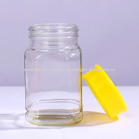 China Whole Large Square Clear Color 500ml Empty Gl Honey Jar With Plastic Lid