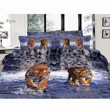 ... China 3D Tiger Printed Bed Sheet Set