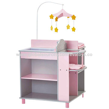 China New Design Pink Multifunctional Wooden Baby Diaper Changing Table W08e019