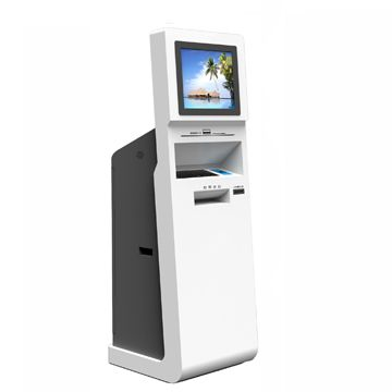 touch screen ATM kiosk terminal with plastic keyboard, mouse and