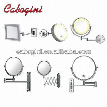 China Brass Wall Mounted Led Lighted Extendable Round Frame Bathroom Makeup Magnifying Mirrors