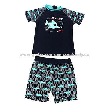 e8b4fff4d China Short Sleeves Surf Boys Children's Rash Guard Set with Back Zipper  UPF 50+ Sun ...