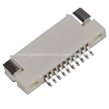 China FPC connector of 0.5mm Pitch UL and RoHS certified, PCB board Connector, Plastic thickness: 1.2mm