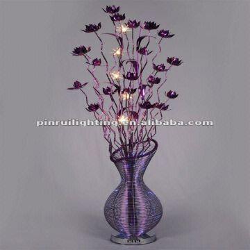 Modern and aluminum purple flower vase floor lamp global for Aluminium flower floor lamp in silver
