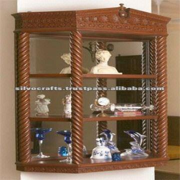Wooden Hand Carved Rope Design Wall Unit Cabinet Carved furniture