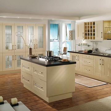 Cream Colour Kitchen Cabinet With Frosted Glass Door Panels Global
