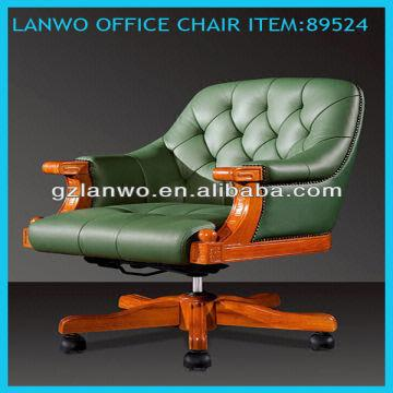 China Discount Price Leather Antique Wood Office Chair Height  Adjustment And Swivel Function Wooden Office Chairs For Sale U14