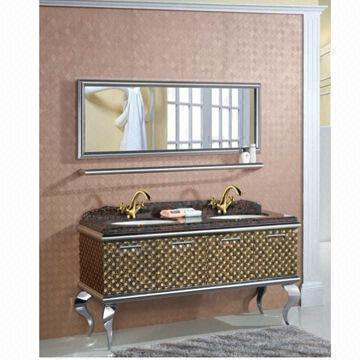 China Luxury 304 Stainless Steel Bathroom Cabinet With Mirror And Shelf Through Seamless Processing