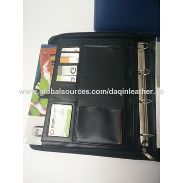 PU leather portfolio, portfolio folder, ring binder, made in