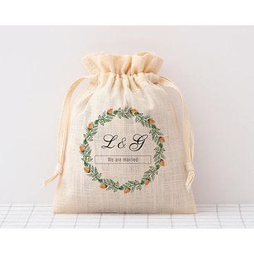 China Custom Natural Canvas Cotton Muslin Drawstring Bag