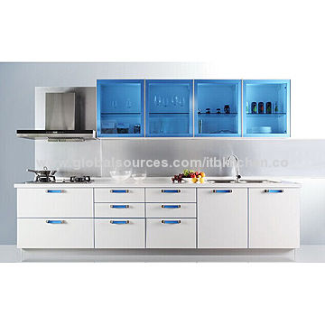 Lacquer kitchen cabinet with white color, blue glass wall cabinet ...