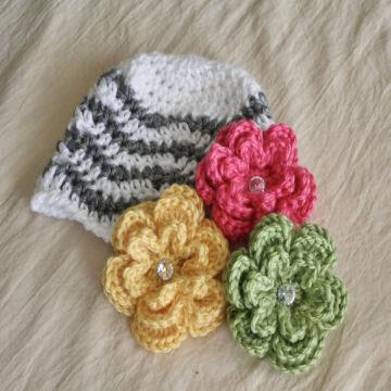 Fashion Baby Clothing Chevron Flowers Baby Hat Baby Knitted Flower