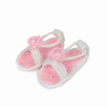 Wholesale Baby Clothing Handmade Baby Sandals White with Pink ...