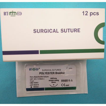 China RTMED Non-Absorbable Braided Green Polyester Suture with Needle
