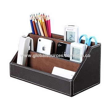 China Leather Home Office Desk Organizer Storage Box From Guangzhou