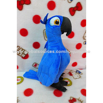 China novelty soft plush blue parrot bird toy, made of soft plush and PP padding, for pro