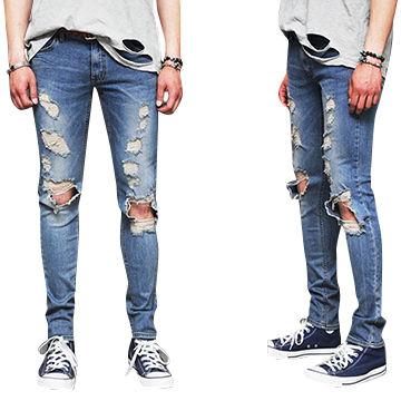 d761c053e5d3b China Damaged Open Knee Slim Straight Men s Vintage Light Blue Destroy Ripped  Jeans (LOTM075 ...