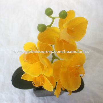 China Artificial Flowers And Vase Yellow Phalaenopsis Flower In Marble Pattern Ceramic Pots