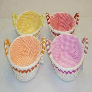 Palm Leaf Baskets With Ceramic Handles And Checked Lining Available