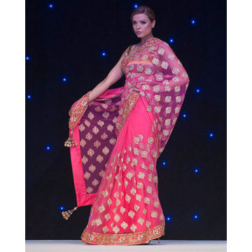 manish malhotra pink gold saree indian bridal wear